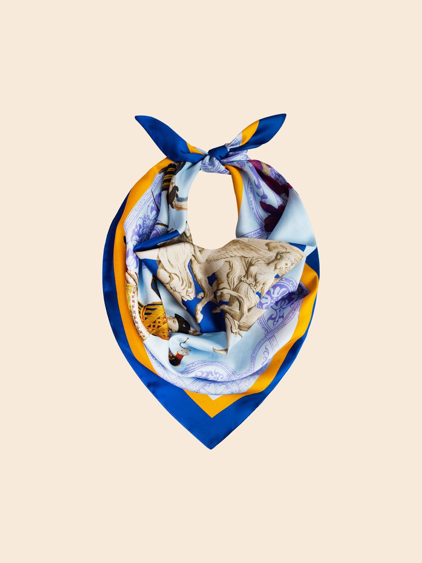 Blue Silk Scarf 90x90 cm